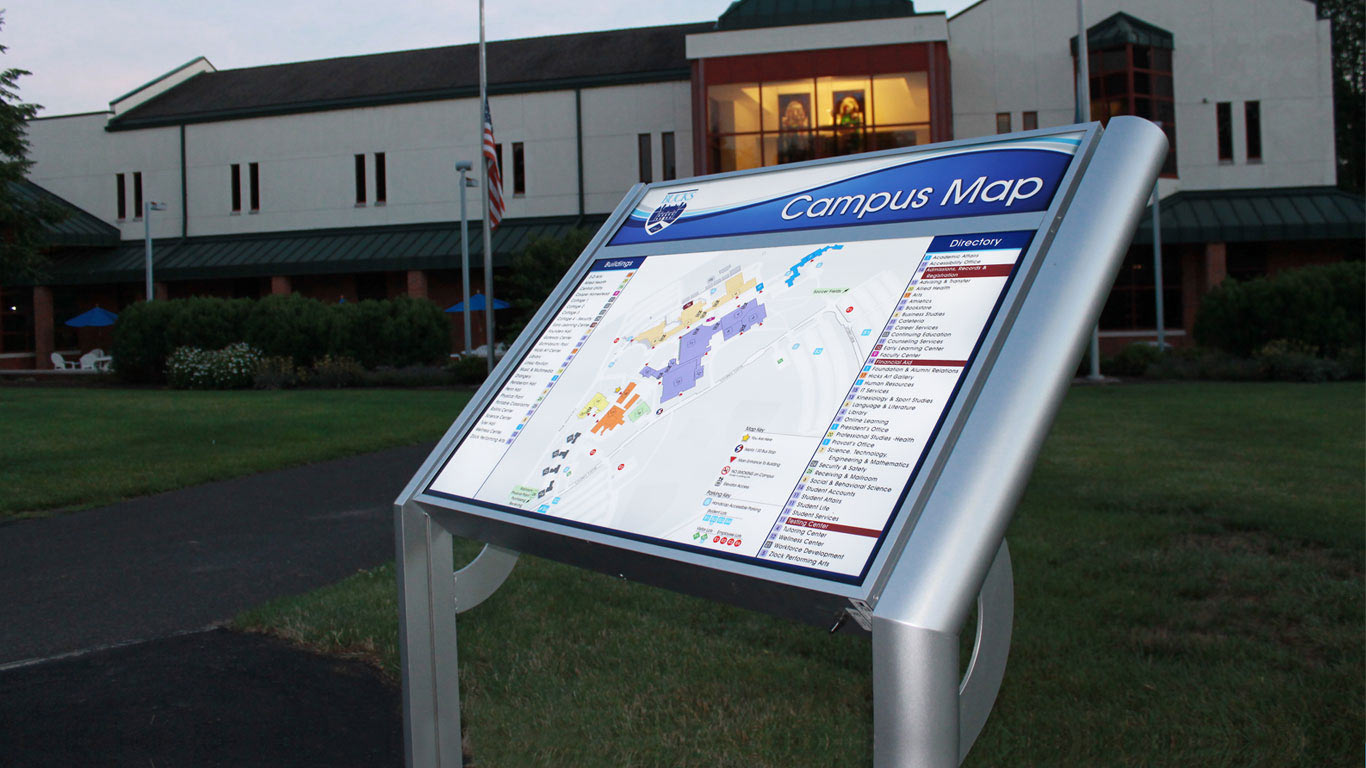 Illuminated Exterior Campus Map Sign