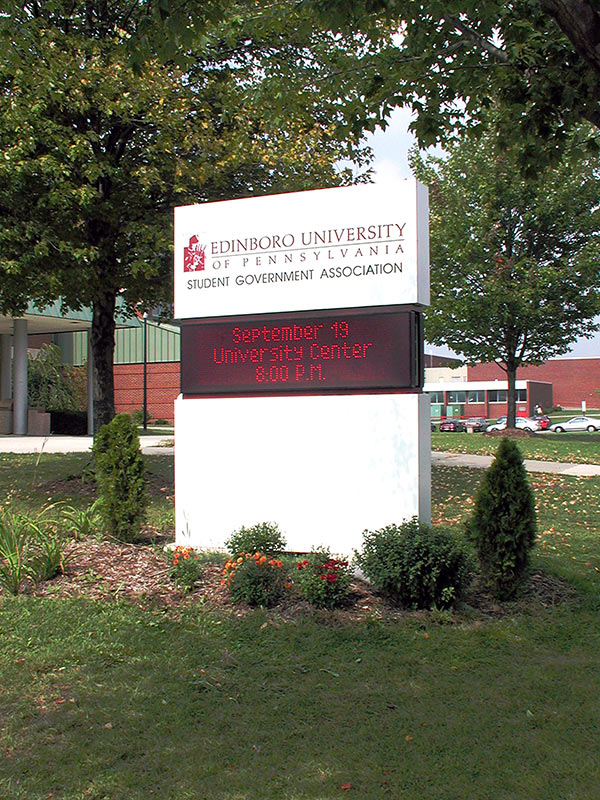 Exterior University Building Identification Sign