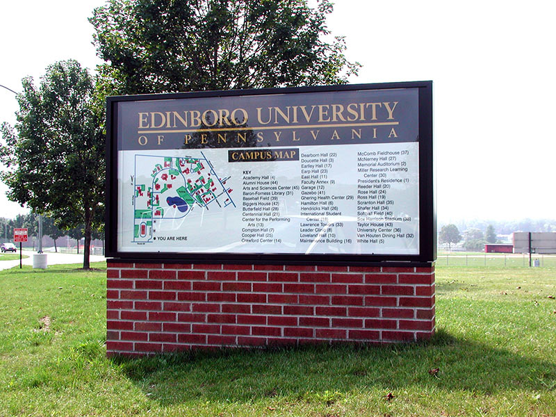 Exterior University Campus Map Sign