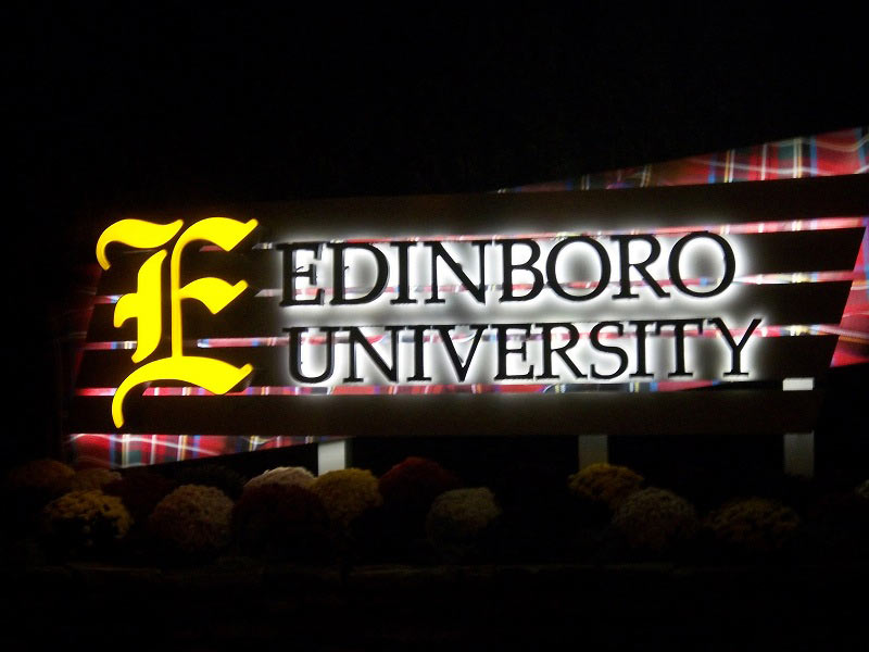Exterior University Illuminated Pylon Sign