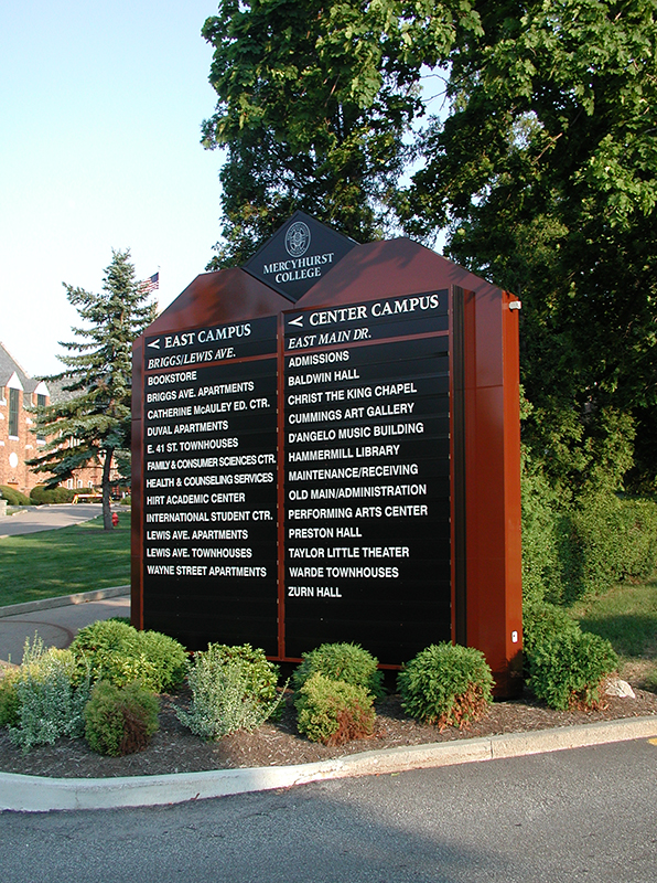 exterior college campus directory sign