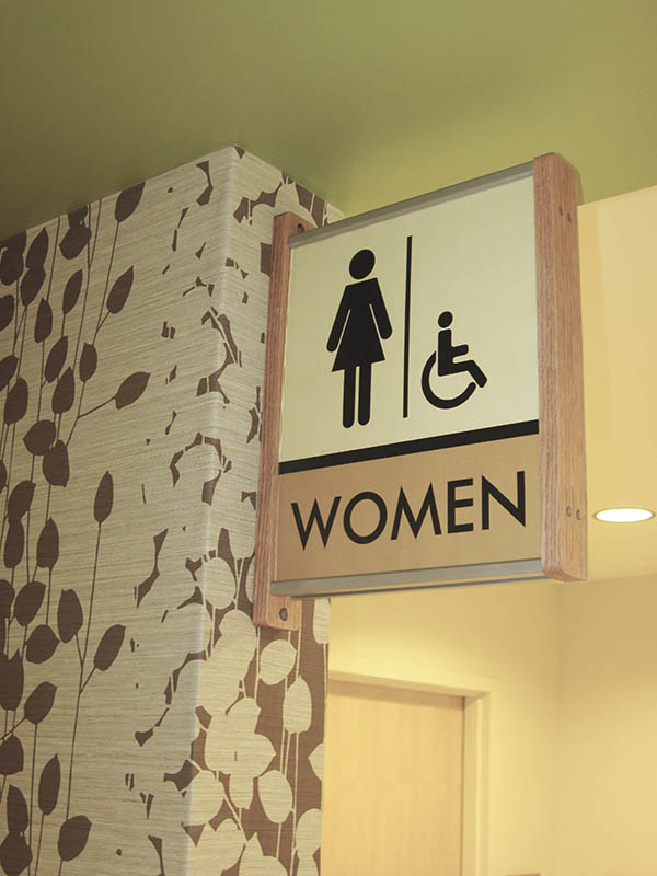 projection mount restroom sign