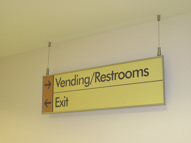 interior ceiling mount directional sign
