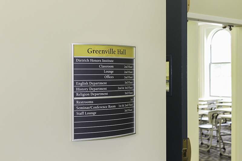 Building directory wayfinding college interior signage