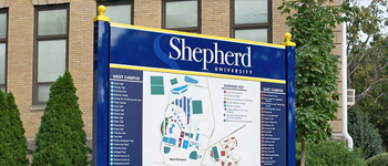 university campus map sign