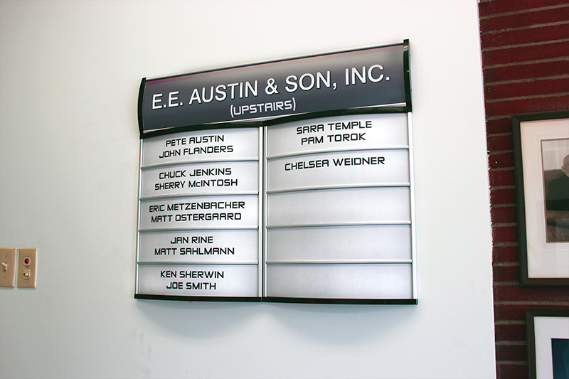 Interior Office Sign: Changeable Directory