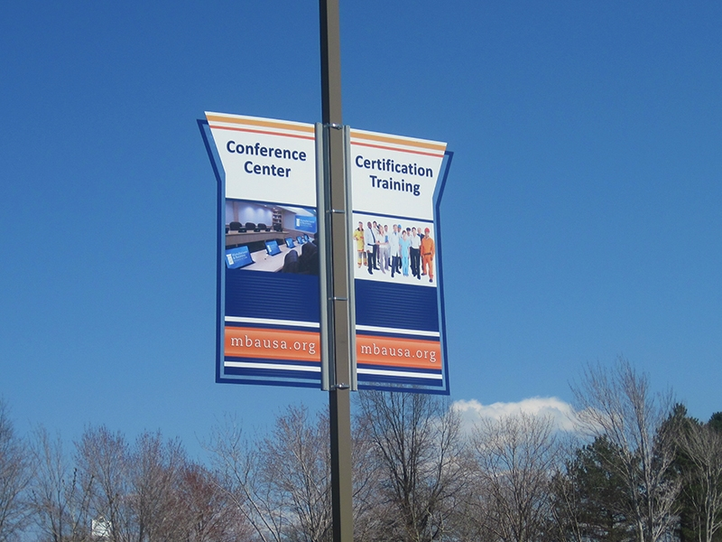 Business Facility Outdoor Pole Banner Sign