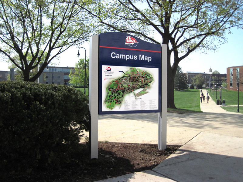 illuminated campus map sign