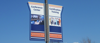 exterior pole banner sign