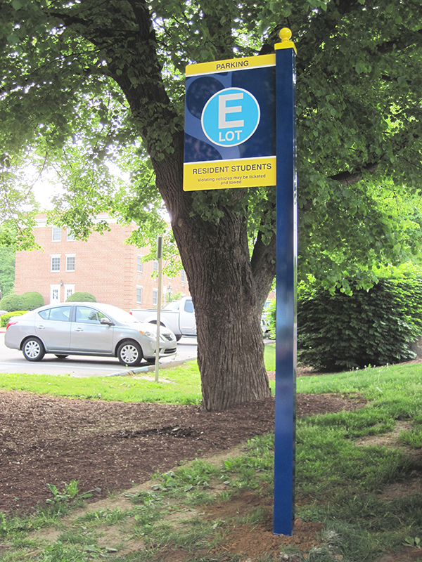 campus parking lot identification sign