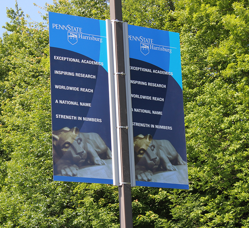 campus branding pole banners